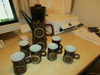 DENBY ARABESQUE STONEWARE COFFEE POT and SIX MUGS.....just £50.