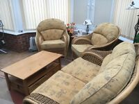 Conservatory wicker settee and two chairs