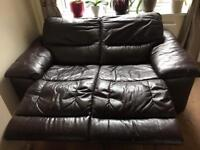 2 seater electric recliner leather brown sofa