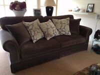 Large 3 seater (New York) Bespoke Sofa in lush brown Velvet with 10 Scatter cushions, very sturdy