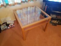Gorgeous Glass Top Wooden Coffee Table (Free Delivery)