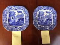 Set of 2 small rate square Copeland Blue Italian Spode plates