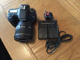 Canon EOS 70D with Sigma 85mm DG HSM lens , charger and battery .excellent little used camera