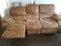 3+2 Seater Brown Reclining Sofas
