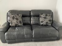 3 Seater Leather Recliner Sofa Black