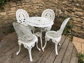 White Garden Heavy Iron Bistro Patio Table & 4 Chairs Set