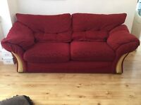 Red three 3 seater & two 2 seater fabric sofas, very good condition £80 for both