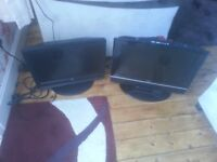 """for sale 2 x 19"""" hd lcd widescreen tvs 1x tv dvd and 12 volt and mains tv £20 each"""