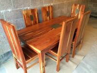 Solid Wood Dining Table & 6 Chairs - Slate Insert
