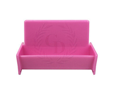 Hot Pink Acrylic Business Card Holder Display Stand for Office Desk/Countertop