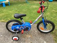 Boys BTwin 14 inch bike with removable stabilisers.