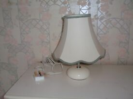 Lamp with cream base and Shade with trim