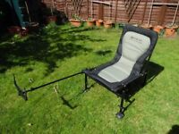 Korum EZ Accessory Fishing Chair with Extending Korum Feeder Arm, Excellent Condition