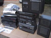 SKY PLUS HD SKY BOX RETRO HI FI STEREO JOB LOT OF VIDEO RECORDERS, SKY BOXES AND A JVC HIFI SYSTEM