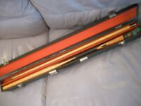 two piece bce quality snooker cue and double sided cue case, excellent cue in beautiful condition.