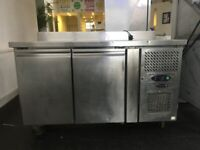 double wide low level stainless steel fridge - with stainless steel counter top