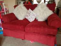 Sofa.. Red 2 seater and 2 single armchairs
