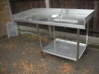 Solid Stainless Steel Table Prep Table With Hand Basin/Sink