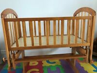 Baby Cot - Wooden including mattress and free bedding