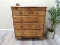 LOVELY SET OF SOLID RUSTIC ANTIQUE PINE VICTORIAN CHEST OF DRAWERS