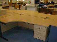 QualityL-Shape Desk, Office Corner Desks, Crescent Desks & 3 Drawer Pedestal + 1 Key. (20 available)