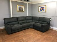 Harvey's charcoal suede power electric recliner corner sofa