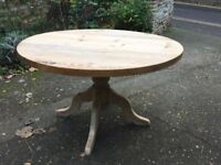 SOLID OLD PEDESTAL PINE DINING TABLE