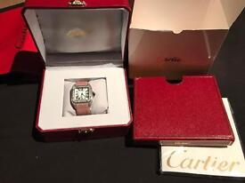 Cartier Santos Diamond Watch (Pink Strap)