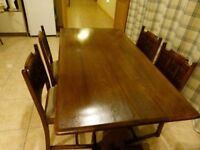 OLD CHARM OAK DINNING TABLE , FOUR CHAIRS AND SIDEBOARD - TO BE COLLECTED