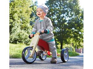 Kinderlaufrad 4in1 Dreirad & Laufrad Kinder Holzrad Lauflernrad Mini-Laufdreirad