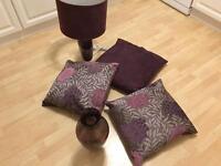 3 x Cushions 1 x Vase 1 x Lamp pink / purple