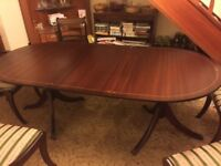 Mahogany retractable 6 seater Dining table & Chairs