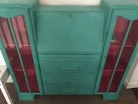 Bureau desk suitable for girl painted green & pink in vgc
