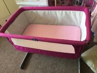 Pink Chicco next 2 me crib