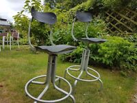 Pair of vintage industrial machinist chairs