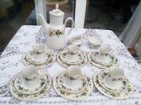Royal Doulton Vintage Larchmont Complete Coffee Set - Fine China Cups Plates Pot Saucers