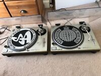 Pair Technics SL-1200MK2 Direct Drive Turntables with Dust Cover/Lids in Great Condition