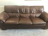 Brown leather 2 and 3 piece sofa