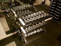 SOLD PENDING COLLECTION Commercial Chrome ergo dumbbell weights set 4 - 30kg & rack stand 11 pairs