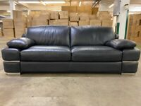 Real leather black 2 & 3 seater sofa