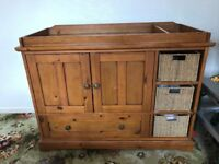 2 x solid oak storage units- changing table and tall boy