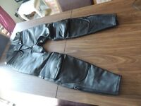 Black leather motorbike trousers size 44