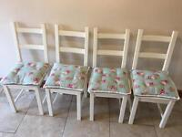 Dining Room Chairs Chabby Chic White with Kath Kidston style cushions