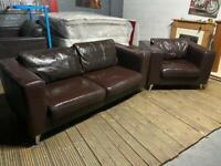 DESIGNER BROWN LEATHER SOFA SET IN GOOD CONDITION 3+1 seater