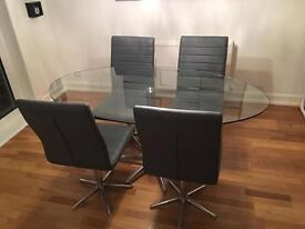 ****SOLD****Stellar base, dining room table + 4 ripple chairs