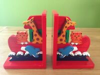 Children's wooden animal bookends