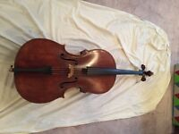 Antique German Cello c1850 FULL SIZE with Roderick ** Bow and Free Hard Case