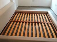 Double bed frame, 3 bins, weight lifting equipment and more