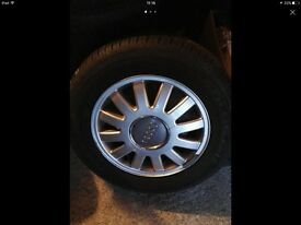 Selling 15 inch 5 original audi a3 wheels on tyres 5x100