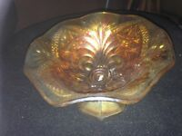 Amber Brittany Glass Sweet Dish - Mint Condition